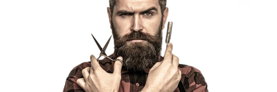 Man maintaining his beard.