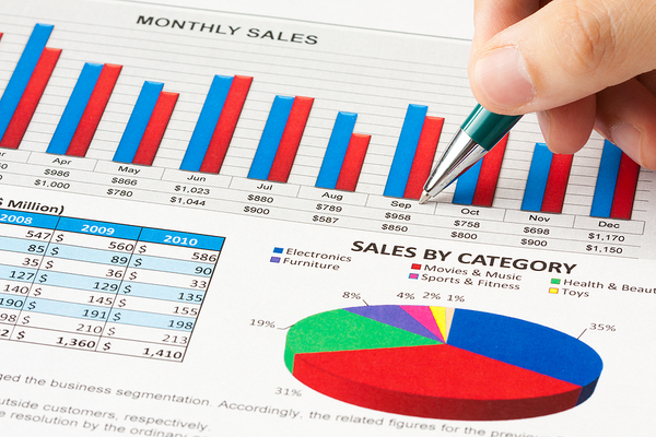 Monthly sales charts and graphs on a document.