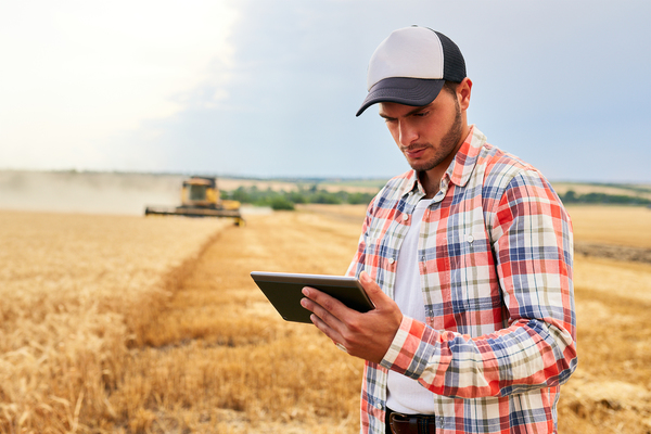 Farmer in a field using a tablet.