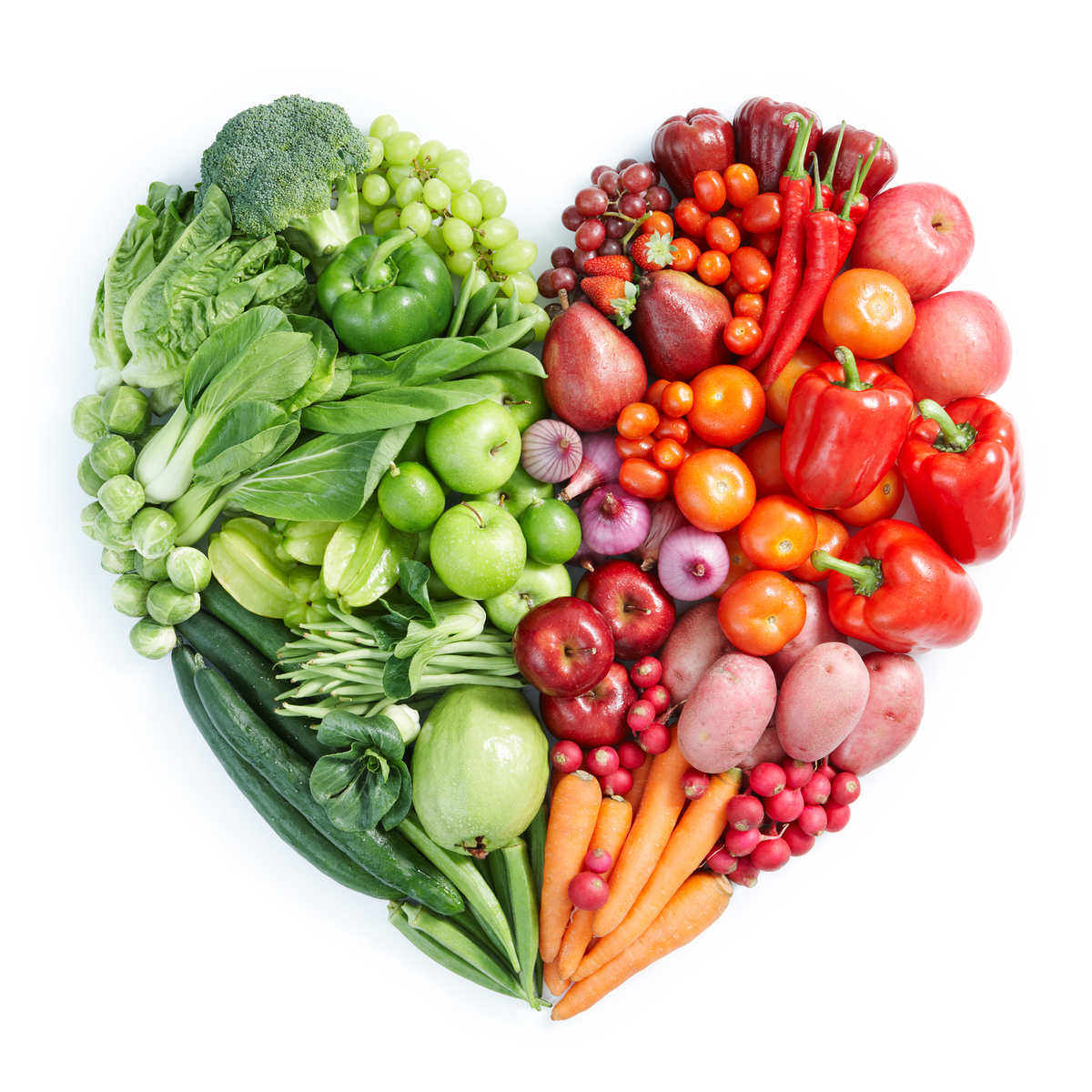 Fruits and vegetables in a heart shape.