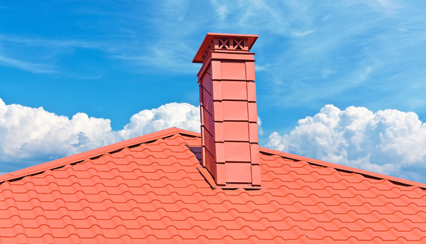 Roof top with red shingles.