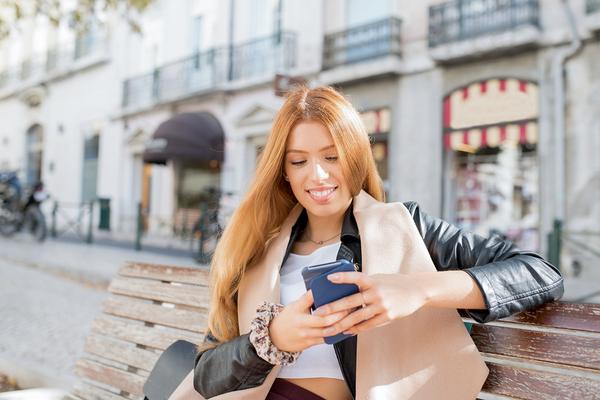 Woman using social media.