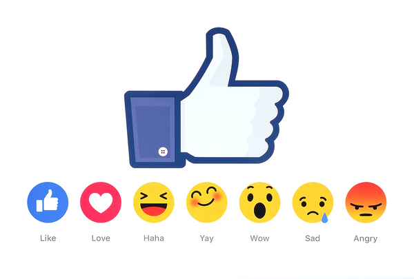 Facebook Like thumbs up and list of all Facebook reactions that could affect social media strategy success.