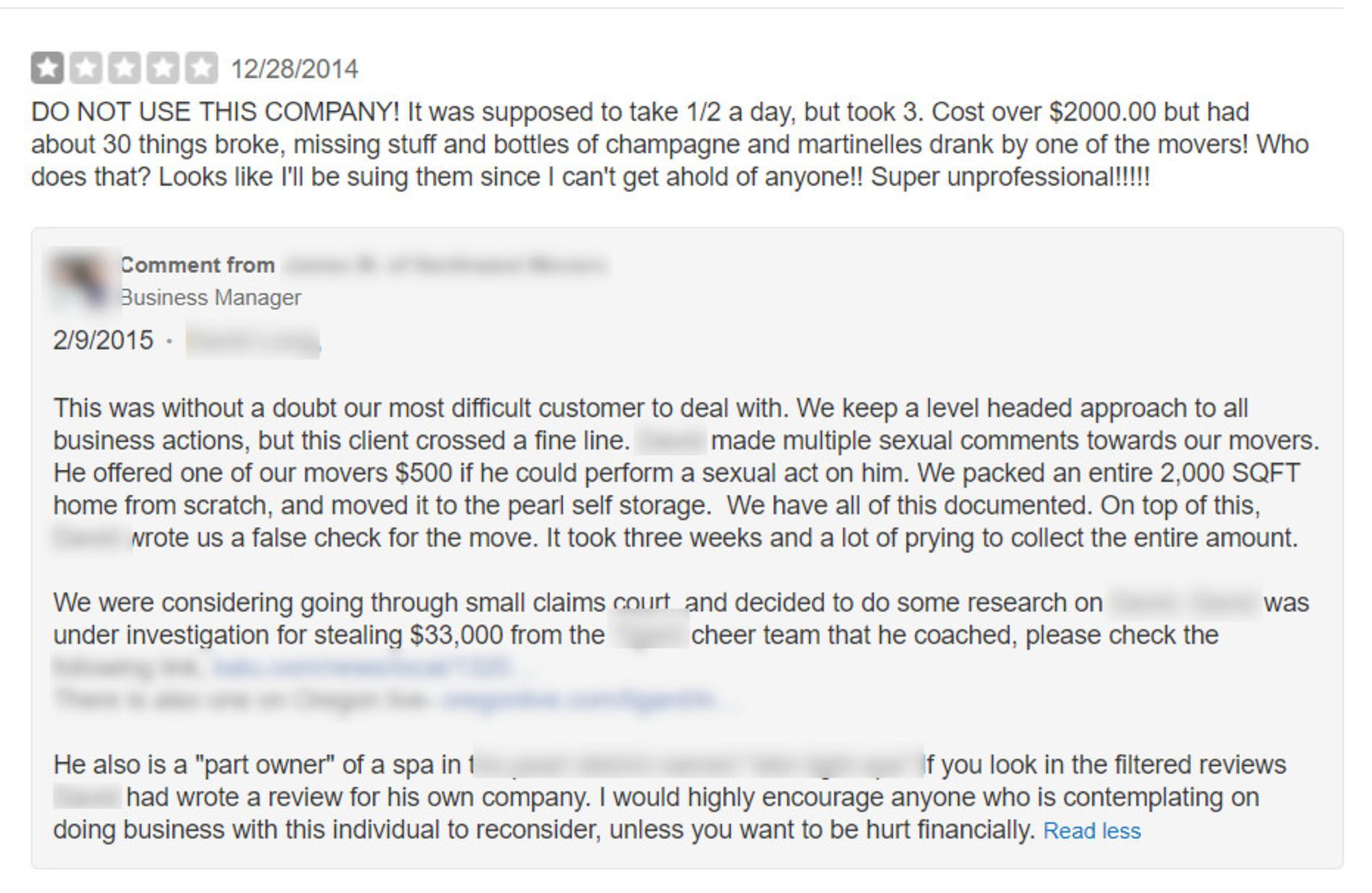 Negative review left online.