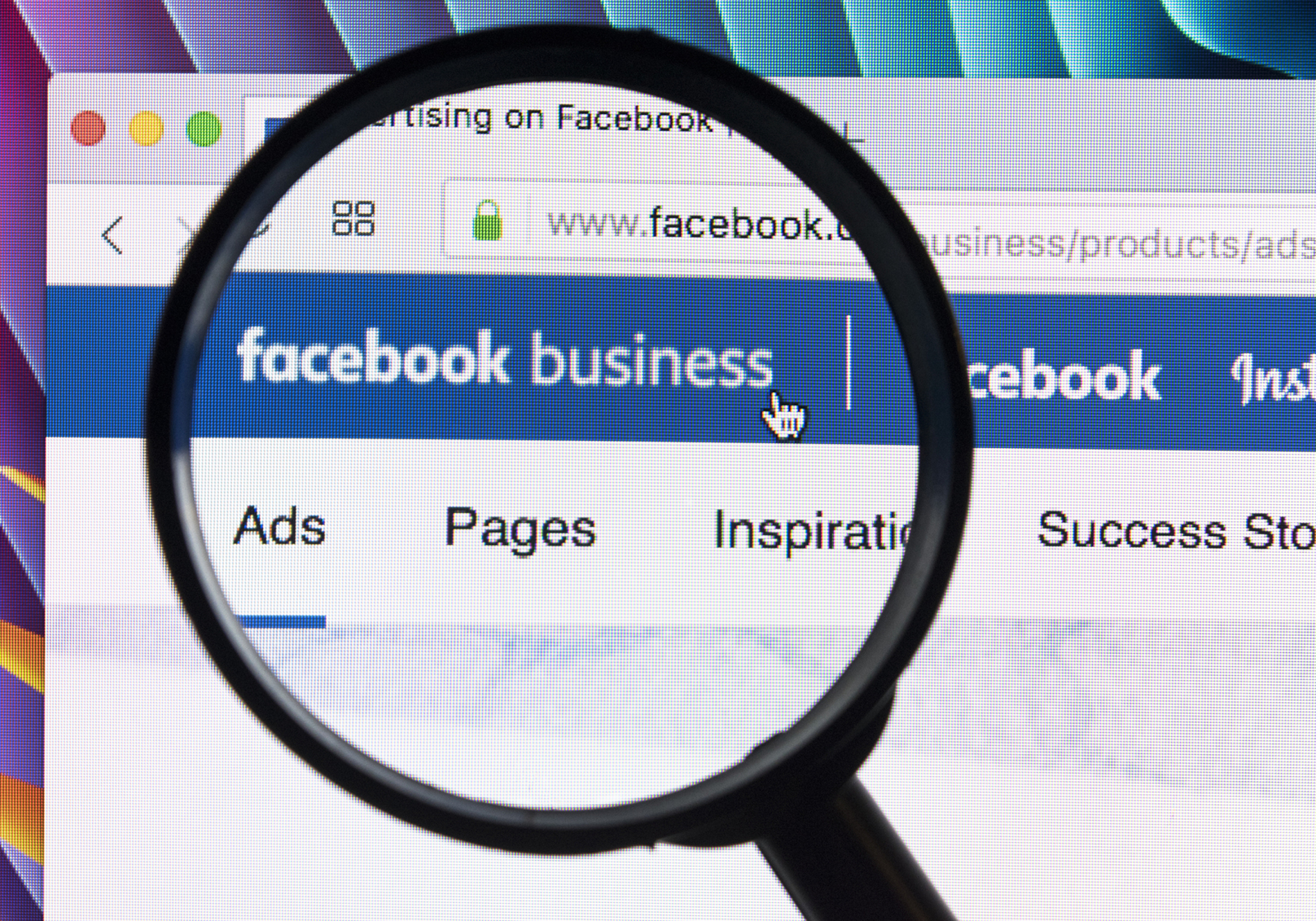 Facebook business home page on display.