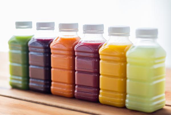 Multiple bottles of juice.