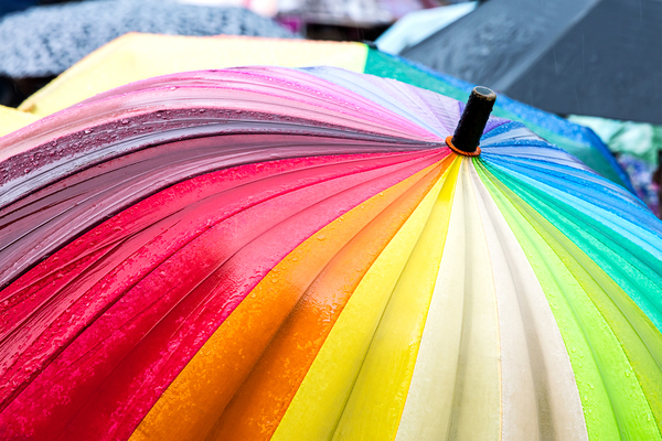 Rainbow colored umbrella.