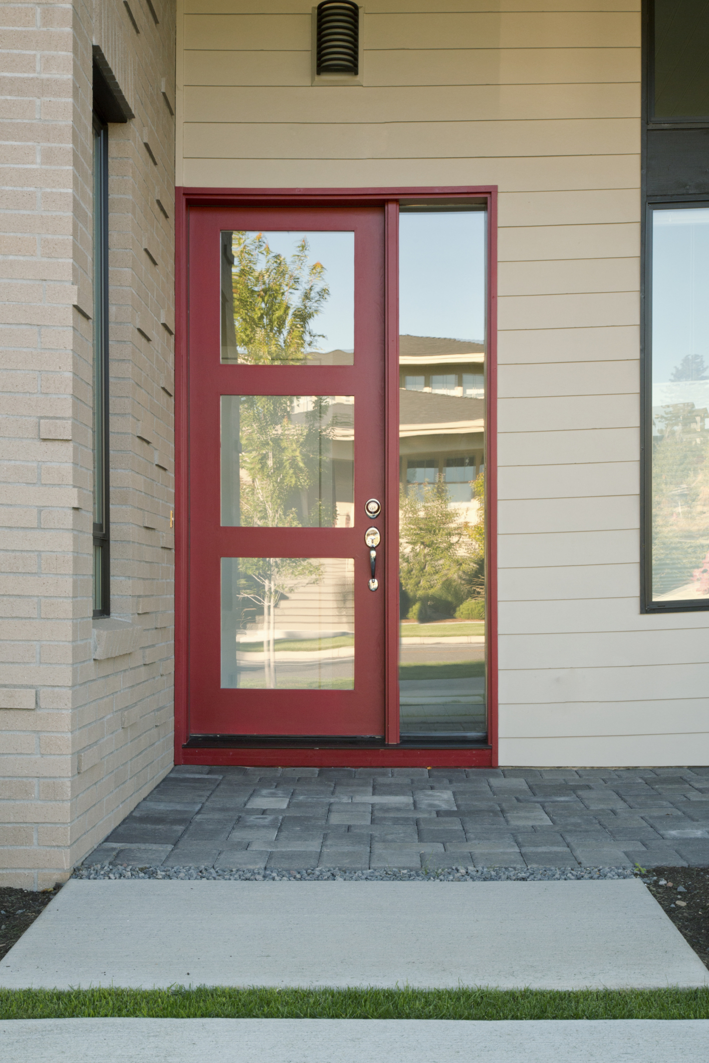 Go bold with your front door for Front door glass panels