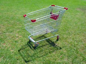 A shopping cart on grass