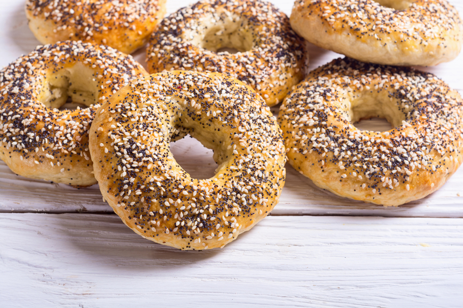 Everything bagels on a tabletop.