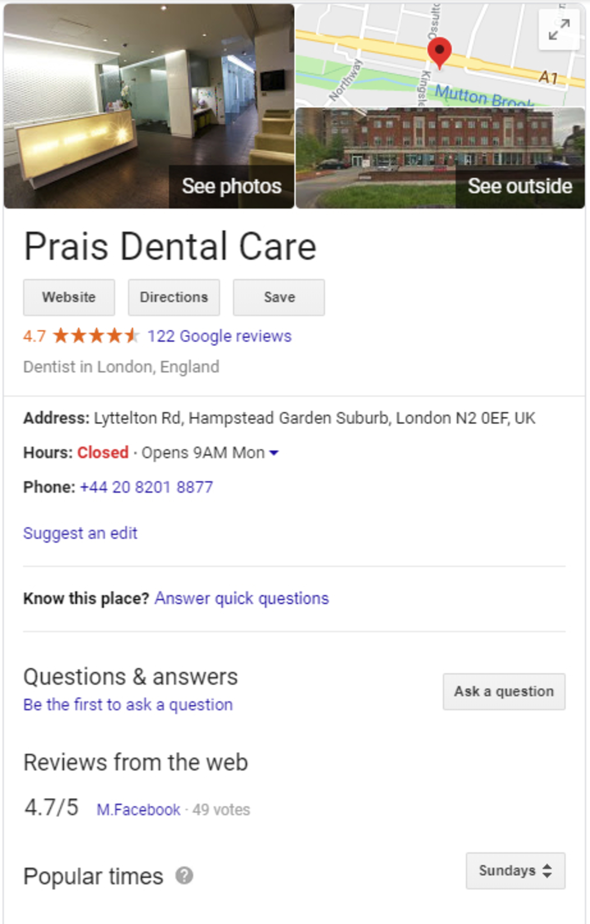 Google search results for Prais Dental care.