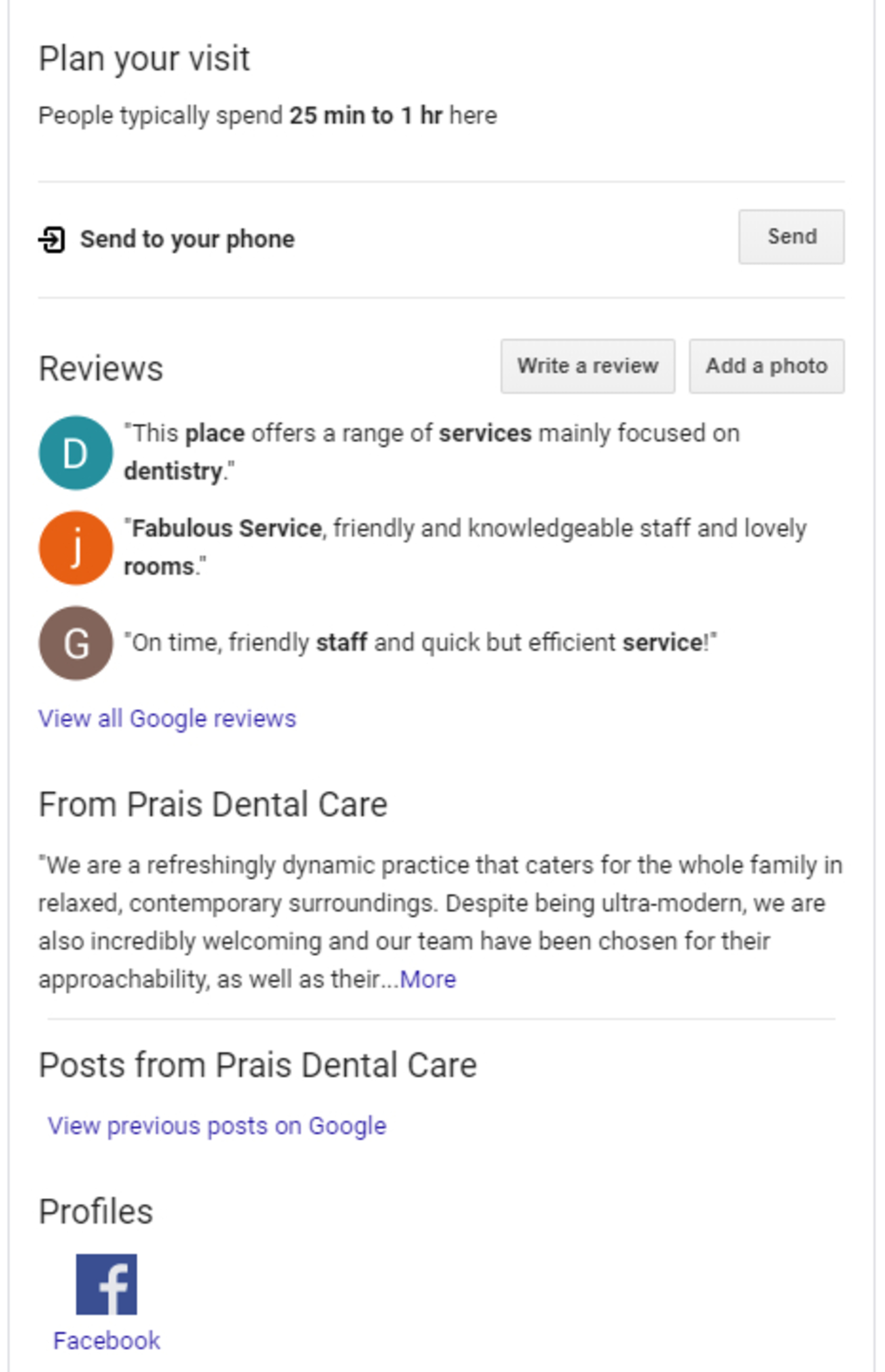 Google results for Plan your visit to Prais Dental Care.