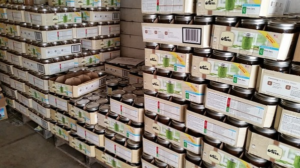 Large collection of mason jars.