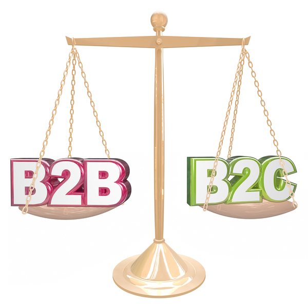 Brass scale weighing B2B and B2C.