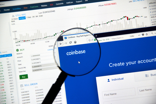 Coinbase create your account page.
