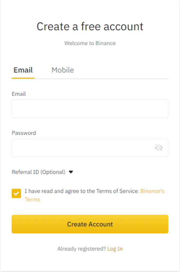 Create a free account screenshot for Binance.