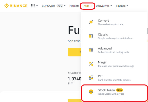 Binance trade drop down menu screenshot.