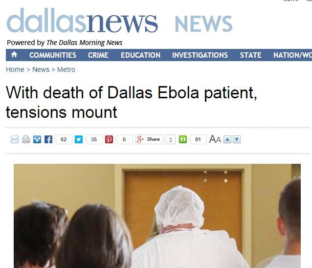 Dallas Morning news story after Ebola death (big data for public health)