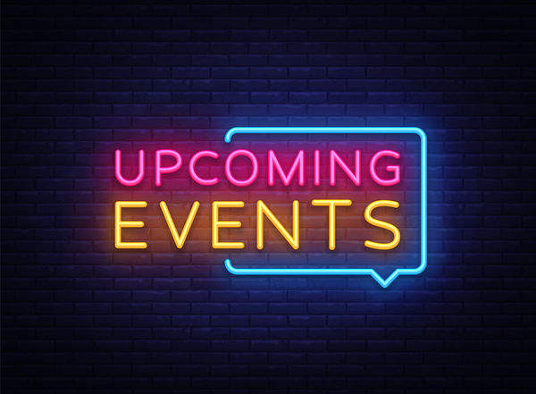 Upcoming events neon sign.