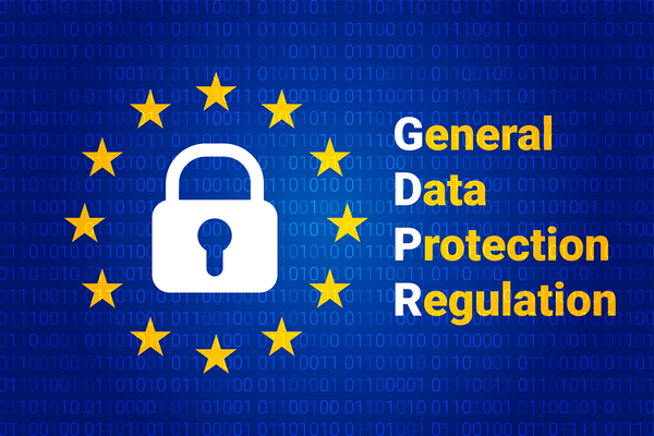 Lock with gold stars surrounding it and the words General Data Protection Regulation the first letter in each word is colored white.