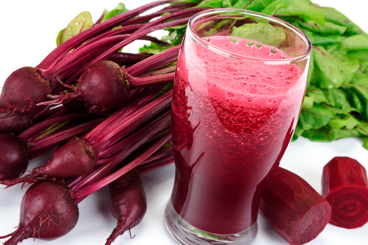 Beet juice and fresh beets.