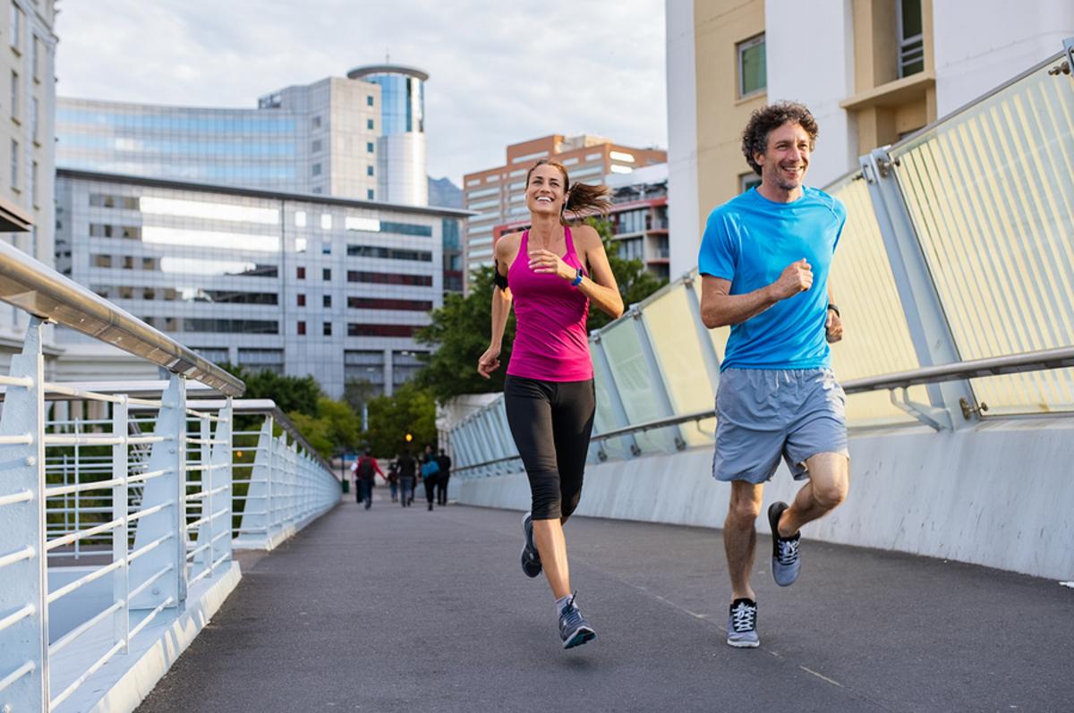 Couple running.