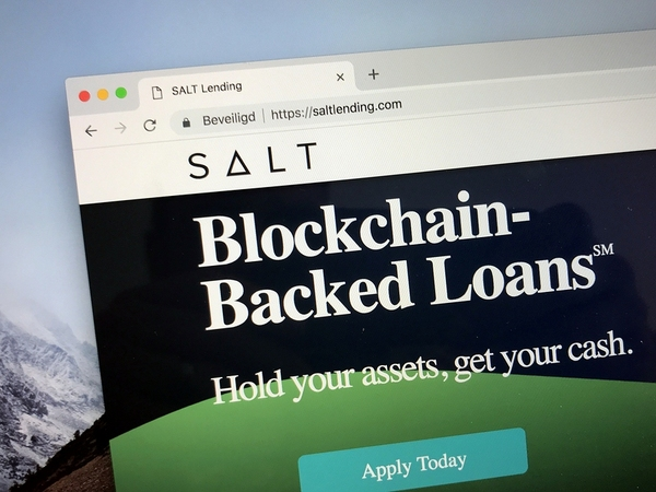 Salt blockchain backed loans page.
