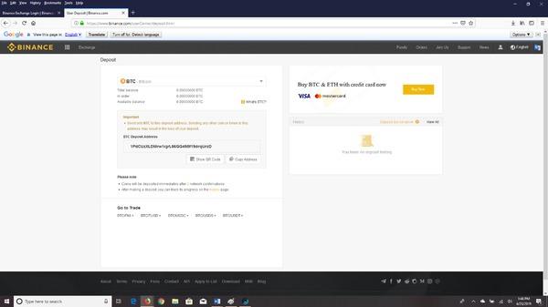Binance select bitcoin from drop down menu.