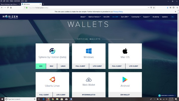 Horizen Wallets page.