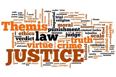 montage of criminal justice related words