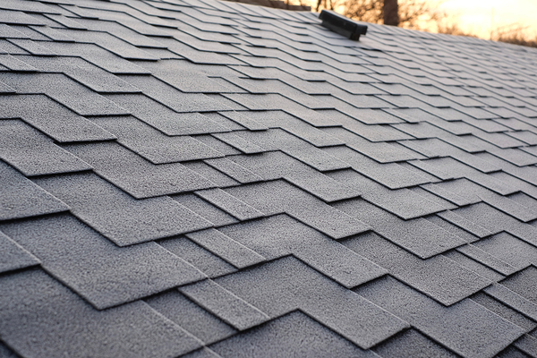 Roof with shingles.