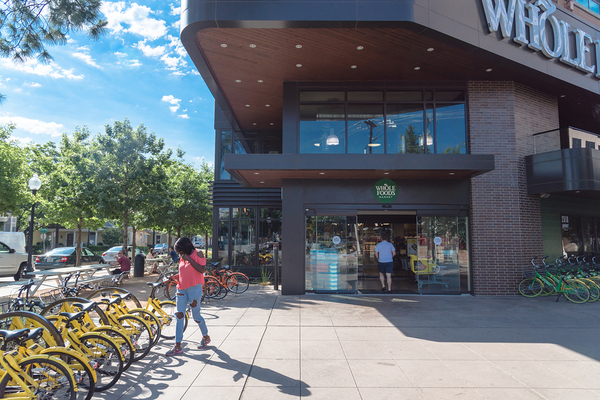 Outside view of Whole Foods supermarket.