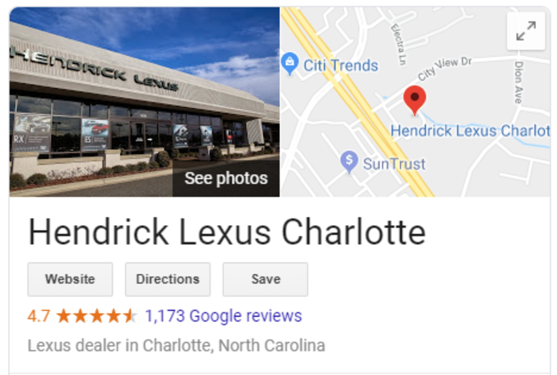 Google review example.