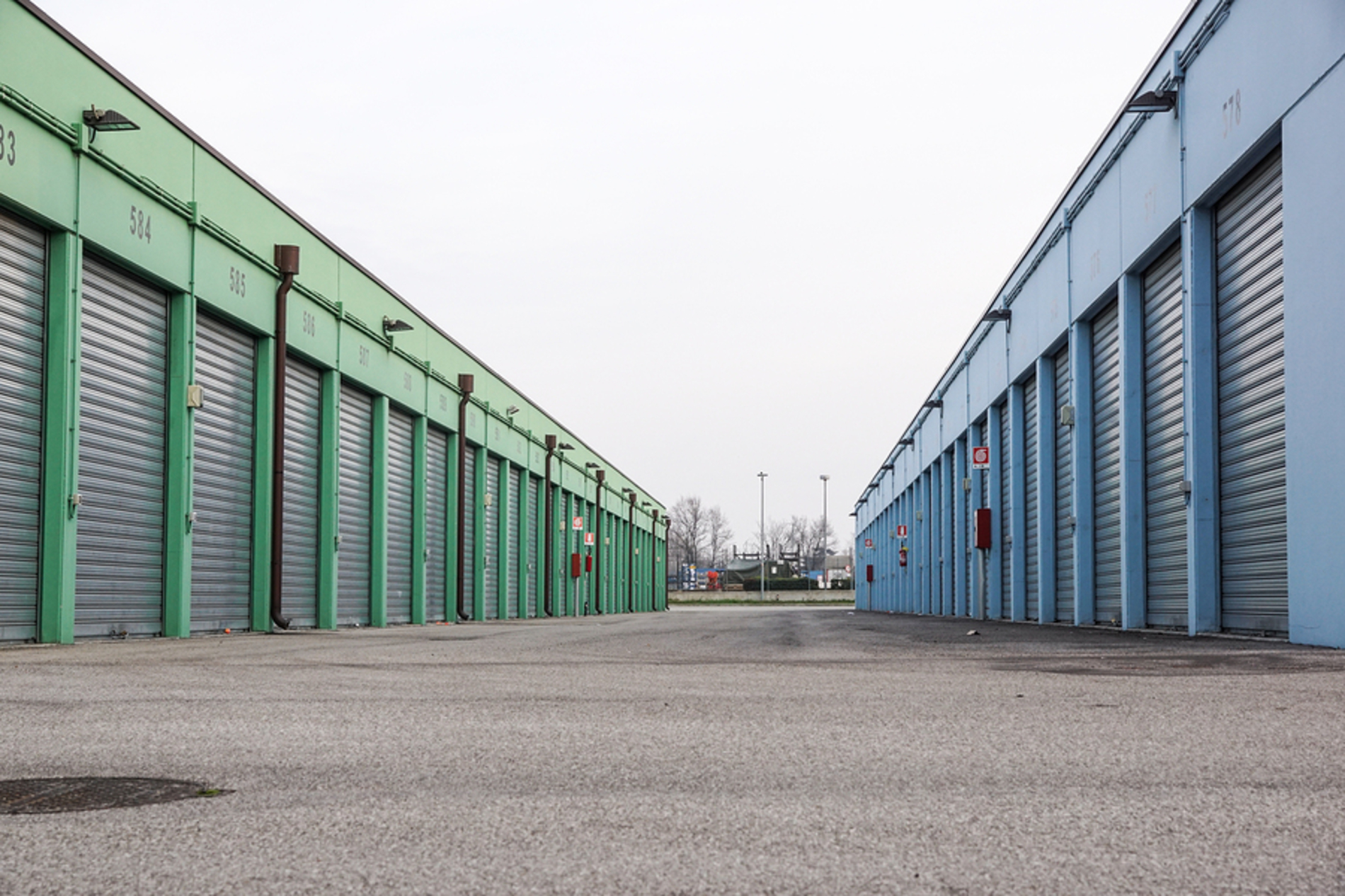 Row of storage units.