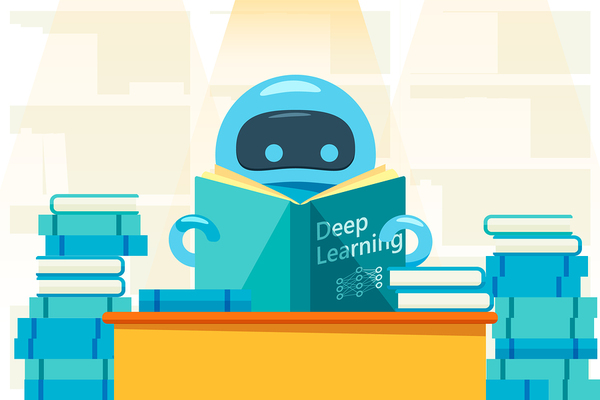 Robot reading a book labeled Deep Learning.