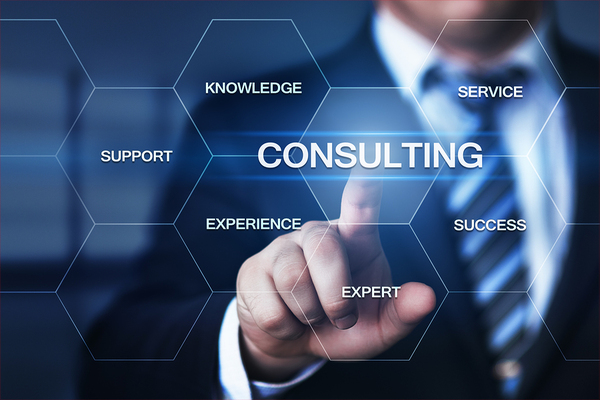 Man pointing to a graphic with the text Consulting