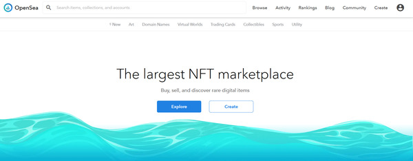 The largest NFT marketplace OpenSea page.