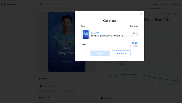 OpenSea checkout page.