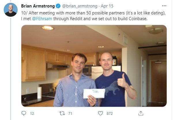 Brian Armstrong tweet