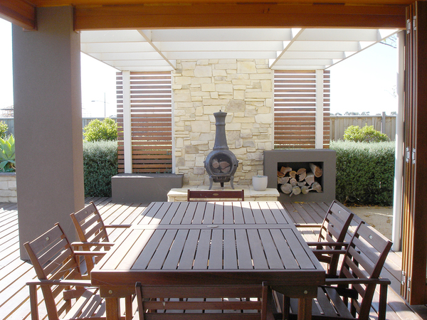 Outside deck with pergola.