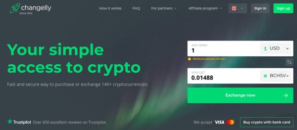 Changelly platform.