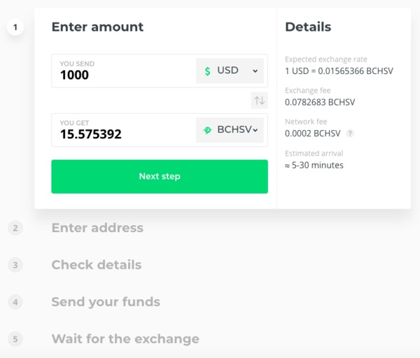 Enter amount screen from Changelly.
