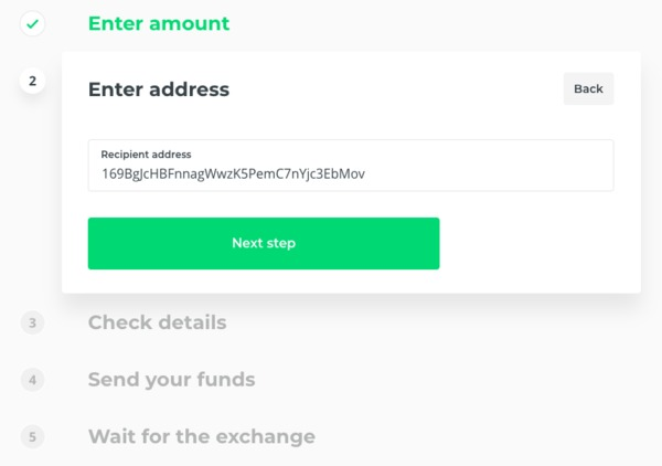 Enter amount page on Changelly.