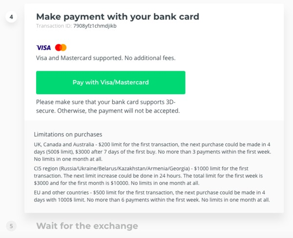 Changelly make payment with your bank card page.