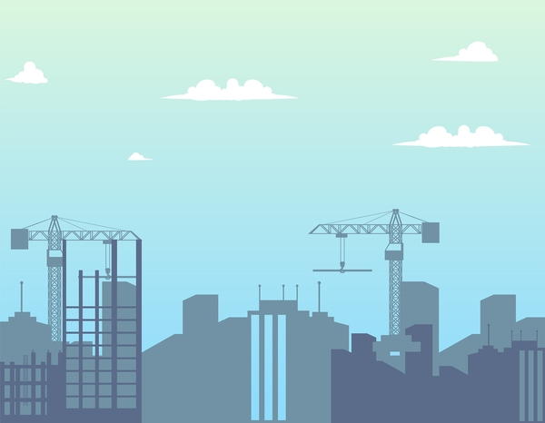 City skyline with cranes.