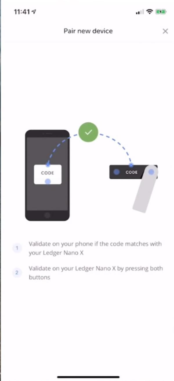 Pair new device app screen shot.