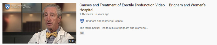 Causes and treatment of erectile dysfunction video Brigham and Women's Hospital
