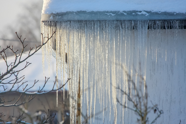 Gutters with icicles.