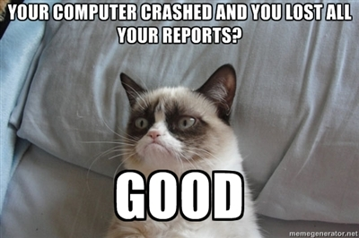 """A meme of """"Grumpy Cat"""". The top text says """"Your computer crashed and you lost all your reports?"""" and the bottom text says """"Good"""""""