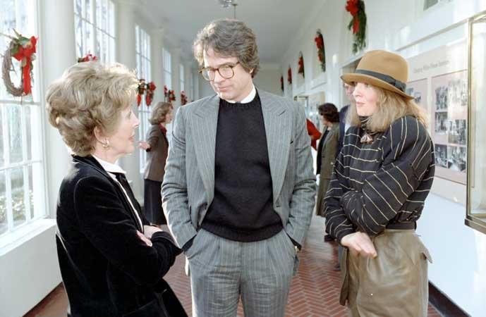 First Lady Nancy Reagan, Warren Beatty, and Diane Keaton in 1981